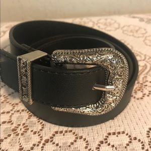 Black leather western women's belt